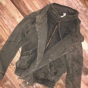 Free People oversized bomber + moto jacket